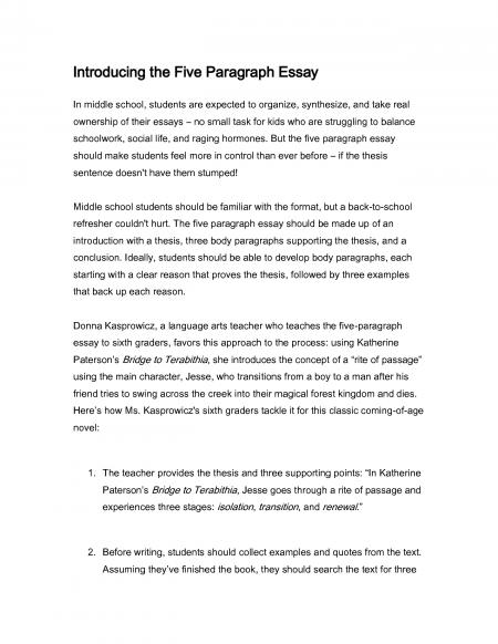 Five Paragraph Essay Example Middle School