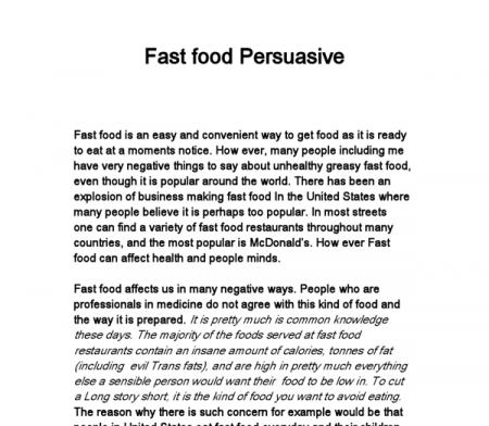 Fast food- persuasive writing - GCSE English - Marked by