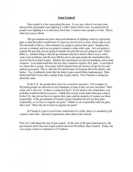 Against gun control essay conclusion