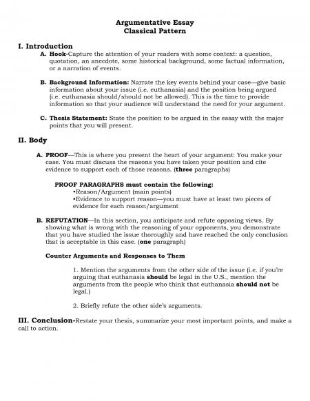 argumentative essay research paper outline - Sample Argumentative ...
