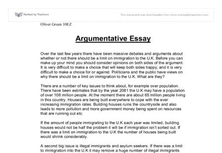 Argumentative essay outline samples